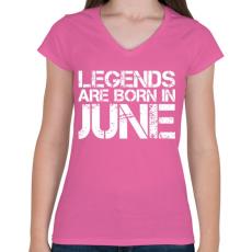 PRINTFASHION A legendák júniusban születnek - Női V-nyakú póló - Rózsaszín