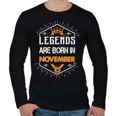 PRINTFASHION A legendák novemberben születnek - Férfi hosszú ujjú póló - Fekete