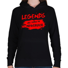 PRINTFASHION A legendák novemberben születtek - Női kapucnis pulóver - Fekete