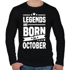 PRINTFASHION A legendák októberben születnek - Férfi hosszú ujjú póló - Fekete
