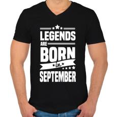 PRINTFASHION A legendák szeptemberben születnek - Férfi V-nyakú póló - Fekete