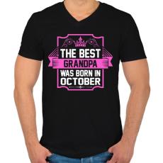 PRINTFASHION A legjobb nagypapa októberben született - Férfi V-nyakú póló - Fekete