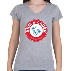PRINTFASHION A sör ereje - Női V-nyakú póló - Sport szürke