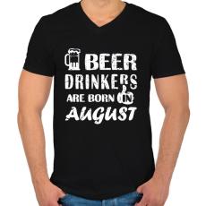 PRINTFASHION A sörivók augusztusban születnek - Férfi V-nyakú póló - Fekete