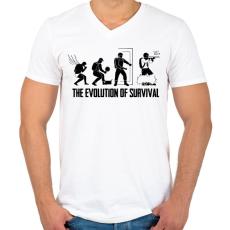 PRINTFASHION A túlélés evolúciója - Férfi V-nyakú póló - Fehér