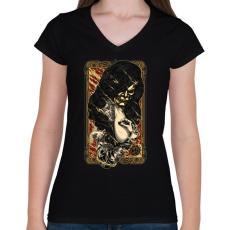 PRINTFASHION A tűz rejtett arca - Női V-nyakú póló - Fekete