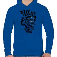 PRINTFASHION A víz a barátom  - Férfi kapucnis pulóver - Királykék