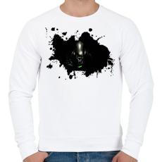PRINTFASHION Alien  - Férfi pulóver - Fehér
