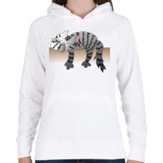 PRINTFASHION Alvó cic - Női kapucnis pulóver - Fehér