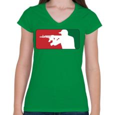 PRINTFASHION AMD league - Női V-nyakú póló - Zöld