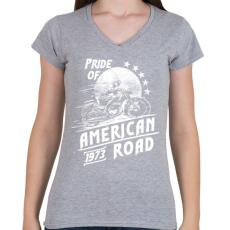 PRINTFASHION Amerika büszkesége - Női V-nyakú póló - Sport szürke
