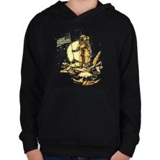 PRINTFASHION Amerikai asztronauta - Gyerek kapucnis pulóver - Fekete