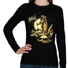 PRINTFASHION Amerikai asztronauta - Női hosszú ujjú póló - Fekete