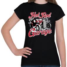 PRINTFASHION Amerikai Hot Rod Garázs - Női póló - Fekete