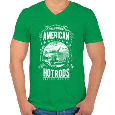 PRINTFASHION Amerikai Hotrod  - Férfi V-nyakú póló - Zöld