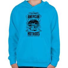 PRINTFASHION Amerikai Hotrods - Gyerek kapucnis pulóver - Azúrkék