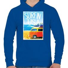 PRINTFASHION Amerikai szörfös - Férfi kapucnis pulóver - Királykék