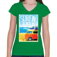 PRINTFASHION Amerikai szörfös - Női V-nyakú póló - Zöld