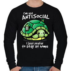PRINTFASHION Antiszoci teknős - Férfi pulóver - Fekete