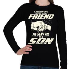 PRINTFASHION APA és FIA a legjobb barátok - Női hosszú ujjú póló - Fekete