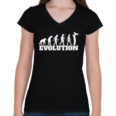 PRINTFASHION APA evolúció - Női V-nyakú póló - Fekete