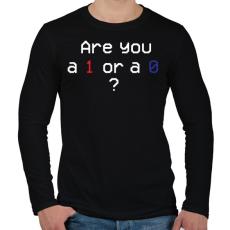 PRINTFASHION Are you 1 or 0?  - Férfi hosszú ujjú póló - Fekete