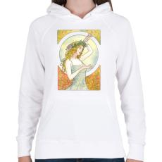 PRINTFASHION Art nouveau - Női kapucnis pulóver - Fehér