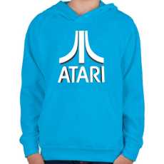 PRINTFASHION ATARI 3D Logo - Gyerek kapucnis pulóver - Azúrkék