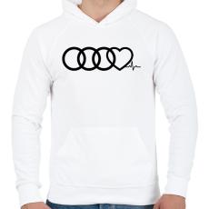 PRINTFASHION AUDI Love - Férfi kapucnis pulóver - Fehér