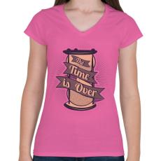 PRINTFASHION Az idő lejárt - Női V-nyakú póló - Rózsaszín
