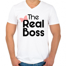 PRINTFASHION Az igazi főnök! - Férfi V-nyakú póló - Fehér