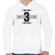 PRINTFASHION b-day-03-dark-lightgrey - Férfi kapucnis pulóver - Fehér