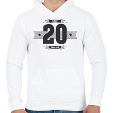 PRINTFASHION b-day-20-dark-lightgrey - Férfi kapucnis pulóver - Fehér