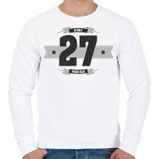 PRINTFASHION b-day-27-dark-lightgrey - Férfi pulóver - Fehér