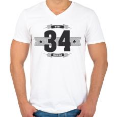 PRINTFASHION b-day-34-dark-lightgrey - Férfi V-nyakú póló - Fehér