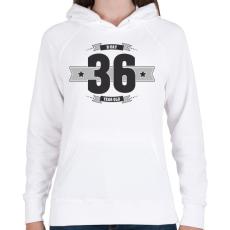 PRINTFASHION b-day-36-dark-lightgrey - Női kapucnis pulóver - Fehér