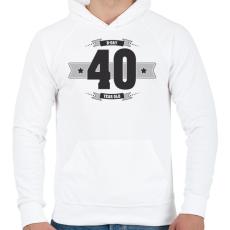 PRINTFASHION b-day-40-dark-lightgrey - Férfi kapucnis pulóver - Fehér