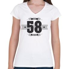 PRINTFASHION b-day-58-dark-lightgrey - Női V-nyakú póló - Fehér