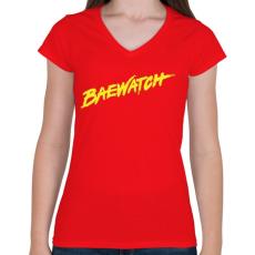 PRINTFASHION BAEwatch - Női V-nyakú póló - Piros