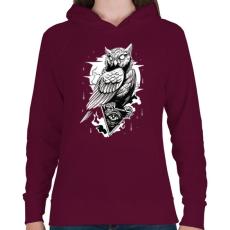 PRINTFASHION Bagoly - Női kapucnis pulóver - Bordó