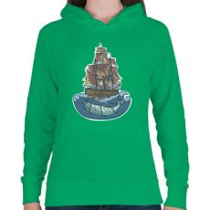 PRINTFASHION Bálnahajó - Női kapucnis pulóver - Zöld