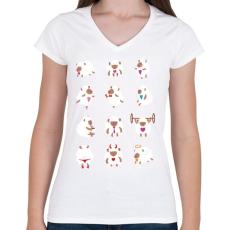 PRINTFASHION Bárányok élete - Női V-nyakú póló - Fehér