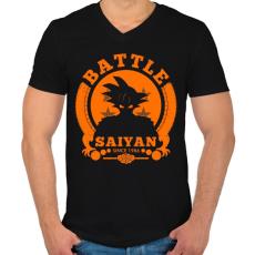 PRINTFASHION battle saiyan - Férfi V-nyakú póló - Fekete