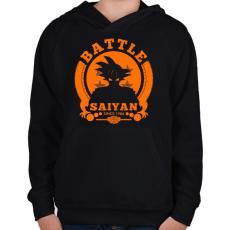 PRINTFASHION battle saiyan - Gyerek kapucnis pulóver - Fekete