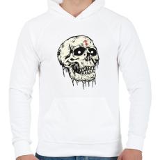 PRINTFASHION Beast Design Skull - Férfi kapucnis pulóver - Fehér