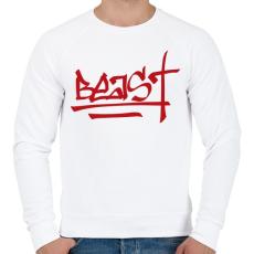 PRINTFASHION Beast Design Text Logo - Férfi pulóver - Fehér