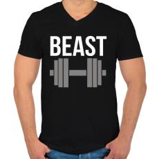 PRINTFASHION BEAST - Férfi V-nyakú póló - Fekete