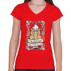 PRINTFASHION Belső béke - Női V-nyakú póló - Piros