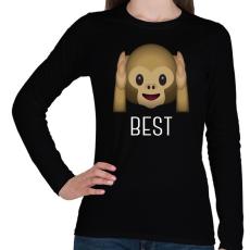 PRINTFASHION Best Friends - Monkey 1 - Női hosszú ujjú póló - Fekete