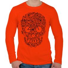 PRINTFASHION Biciklis koponya - Férfi hosszú ujjú póló - Narancs